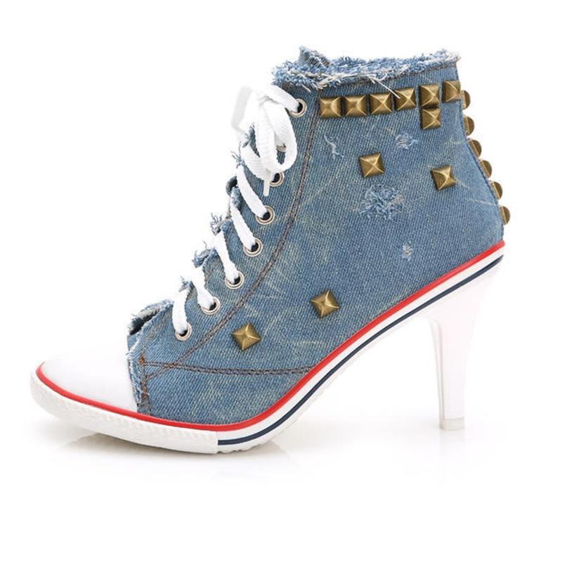 ФОТО Personalized Women fashion sexy high-heeled shoes denim canvas shoes high quality brand rivet punk lacing  high heels