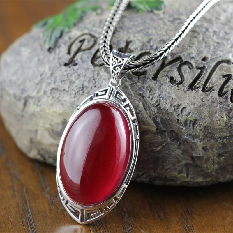 925 bijoux en argent sterling en gros Vintage femme pendentif en corindon rouge