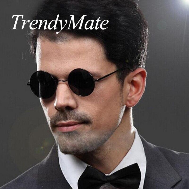 High Quality Vintage Polarized Sunglasses Men Round Metal Steampunk Brand Designer Sun GLsses Alloy Metal Gafas De Sol 171M
