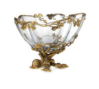 European antique Decoration Bowl high end living room furnishings decoration Glass inlaid copper fruit plate