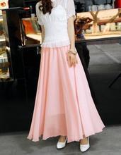 New 2019 Women Boho Double layer Chiffon Long Maxi Skirt Lady Beach High Wait Causal Sundress Mulheres Do Partido