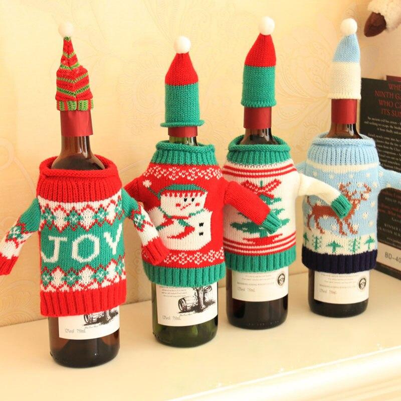 1 Set Herten Sneeuwpop Breien Rode Wijnfles Cover Diner Tafel Xmas Wijn Zak Gift Snoep Tassen Navidad Rode Wijn Stof