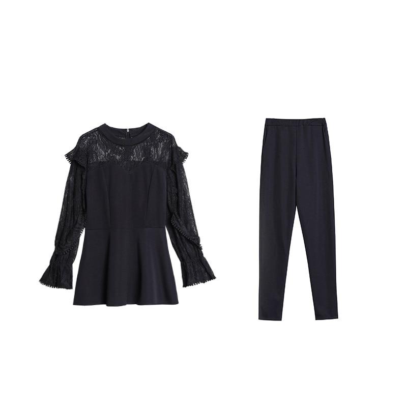 Xl-5xl Plus Size Black Lace Two Piece Women Sets Flare Sleeve Tunic Tops+pants Trousers Sets Suits Office Elegant Women's Sets 32