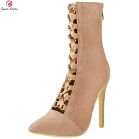 Original Intention Gorgeous Women Mid Calf Boots Sexy Pointed Toe Thin High Heels Boots Nice Camel