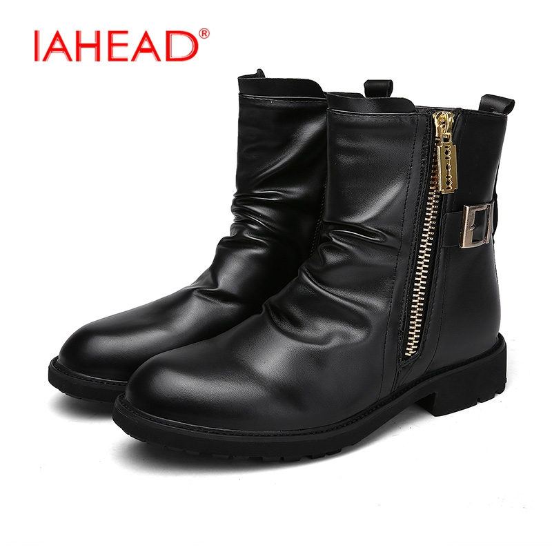 IAHEAD Men Shoes High Quality Boots Men New Winter Fashion Ankle Boots Men Leather Casual Shoes Military Boots erkek bot MH543 2017 new spring imported leather men s shoes white eather shoes breathable sneaker fashion men casual shoes