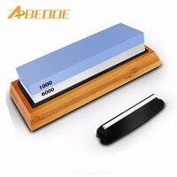 ABEDOE 6000/1000 # Doppelseitige Messer Schärfen Stein Whetstone Wasser Stein mit Rutschfeste Gummi Basis Bambus Halter für Küche