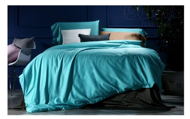 100 Egyptian Cotton Bedding Sets Aqua Blue King Queen Size Sheets Bed In A Bag