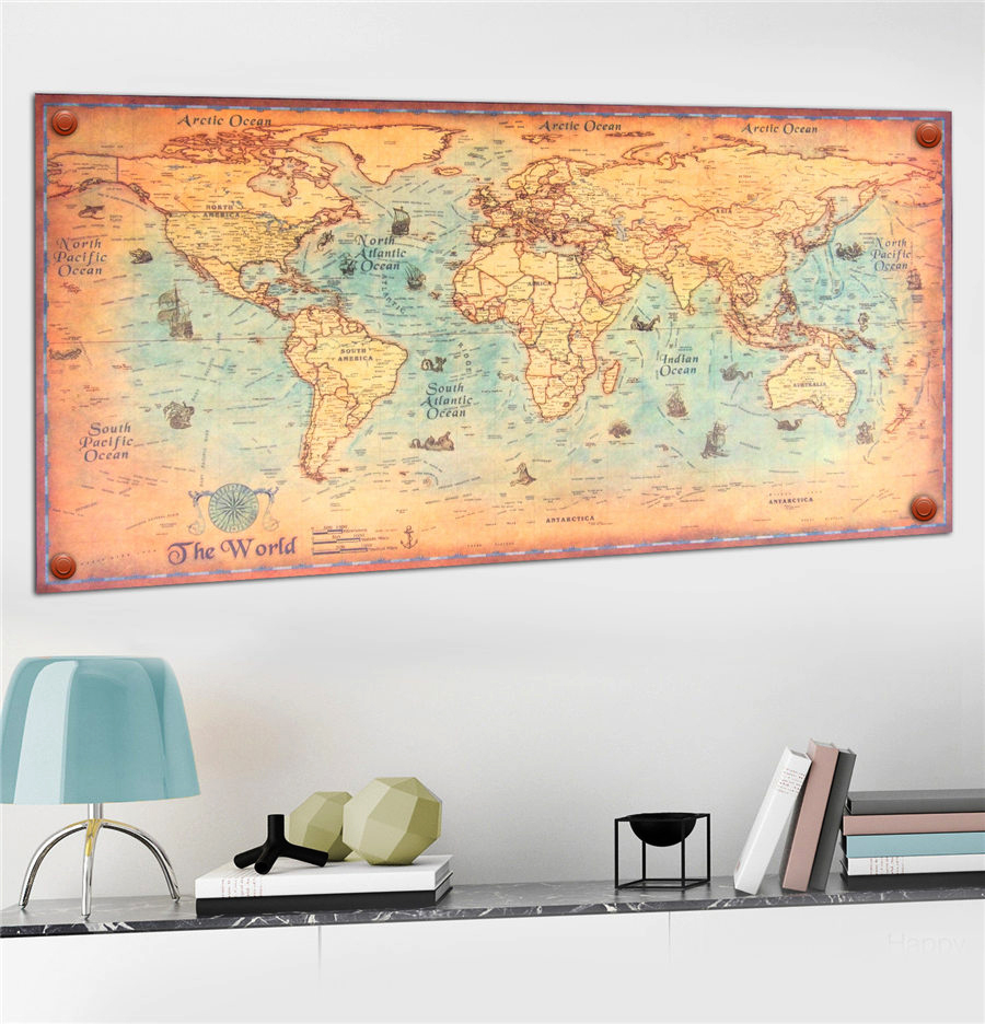 World Map Vintage Poster Retro Wall Art Print Paper blue ocean sea ...