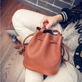 Hanup 2016 New Arrival Fashion Brand Women Top Quality 3 Colors PU Leather Drawstring Bucket Bags Ladies Shoulder Messenger Bag