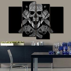 Картина на холсте рамки для гостиной настенный Декор для дома 4 шт./1 шт. череп гангстеры Модульная картина HD печать плакат