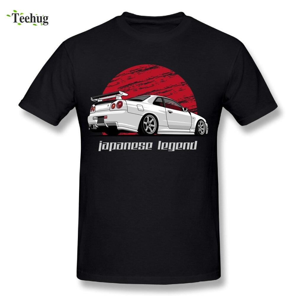 Mode Streetwear Hommes de Skyline GTR R34 T Shirt Col Rond Classi Conception De Voiture Pour Homme T-shirts