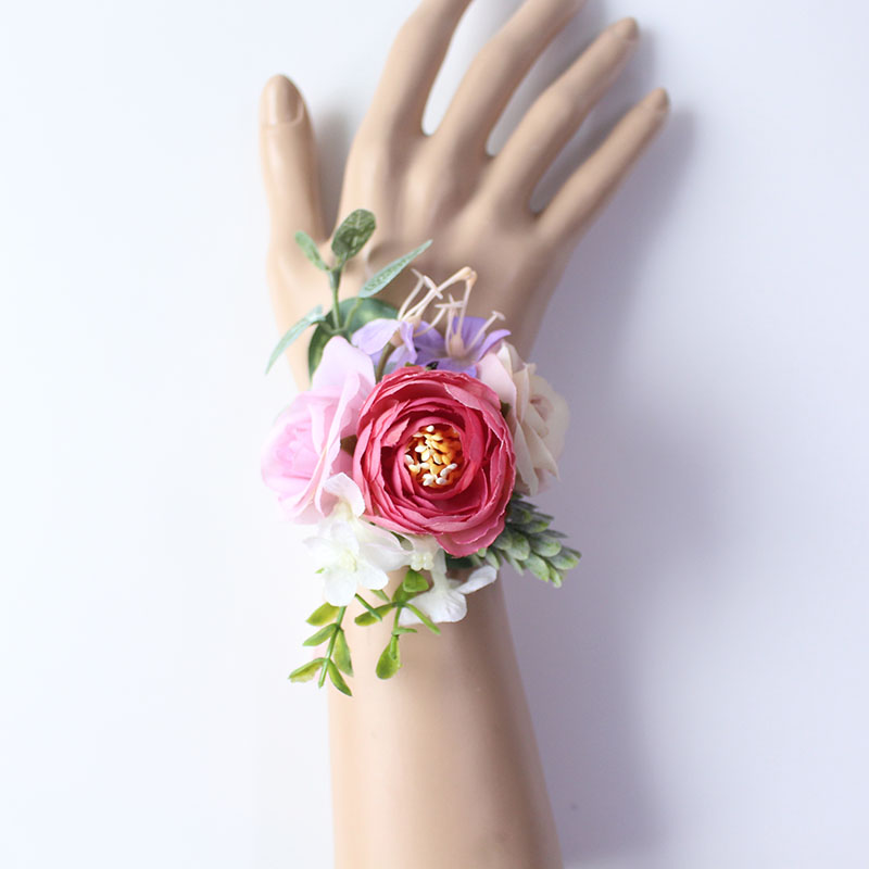 wrist flower bridesmaids Bracelets silk roses pink (41)
