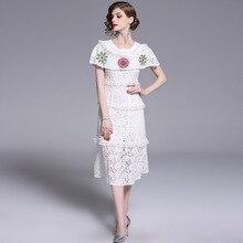 PADEGAO Womens Wear 2019 Literary Spring Summer Round Collar Lace Embroidery Cloak Long Women Dress Elegant Goddess Temperament