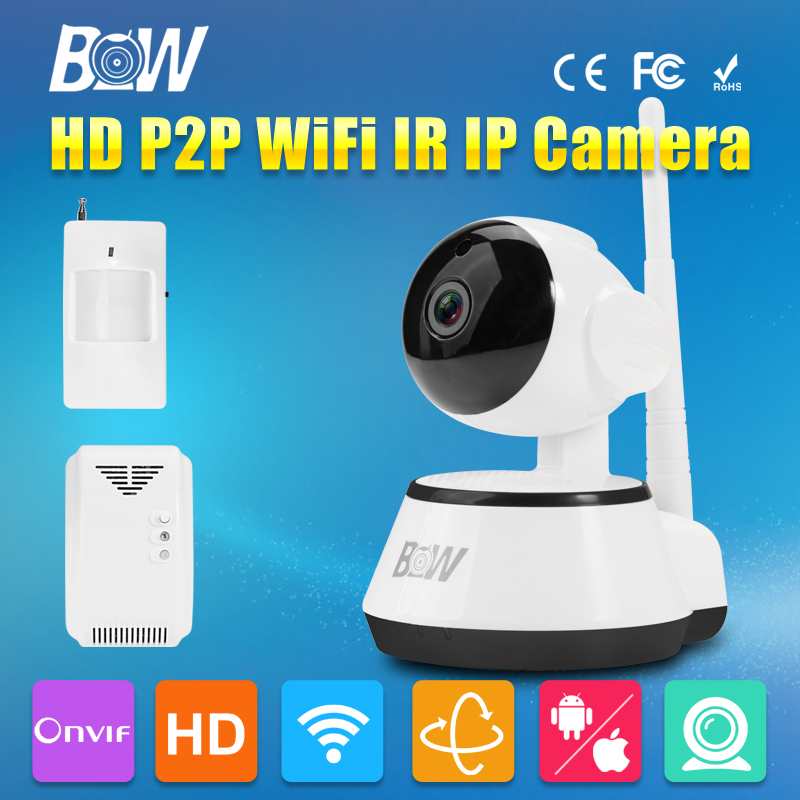 BW HD 720P IP Camera Wireless Wifi IR-Cut Night Vision Video Surveillance 3.6mm Endoscope Infrared Motion Sensor + Gas Detector bw wireless wifi door