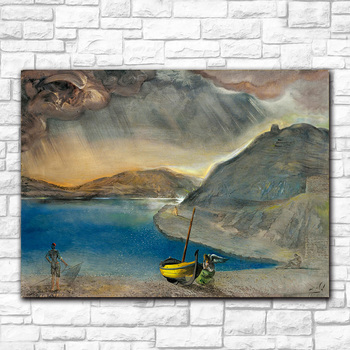 Salvador Dali port Lligat landscape, before the storm, 1956 Printed on Canvas Painting For Living Room Home Decor Wall Pictures 4
