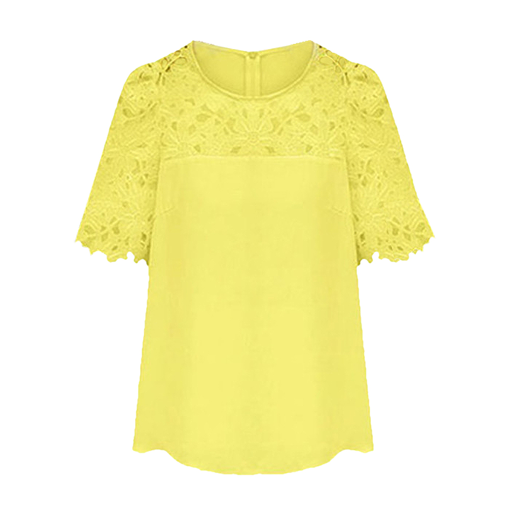 ADW 2017 NEW Chiffon Blouse Hollow Lace Short Sleeve Crew Neck Shirt Women  Tops Yellow XL - Compare Prices On Yellow Tops- Online Shopping/Buy Low Price