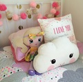 Ins White Smile Face Cloud Cushion Cartoon Cotton Pillow With Dream Baby Kids Room Decorative Cushion  Bed Toy size 40X26CM