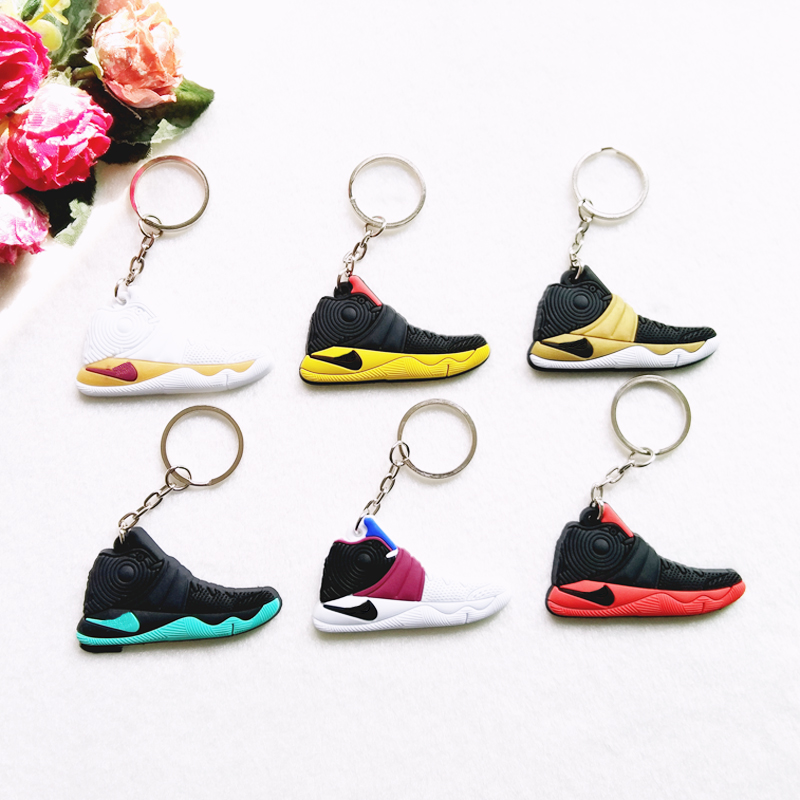 Mini Silicone Sneaker Kyrie 2 EP Zoom Keychain Key Chain Shoes Car Key Holder Woman Men Bag Charm Accessories Key Rings Pendant