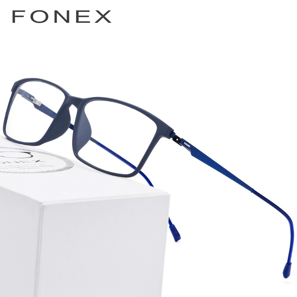 6f46e417818 TR90 Titanium Alloy Glasses Frame Men Myopia Eye Glass Prescription  Eyeglasses 2018 Korean Screwless Optical Frames Eyewear 9855