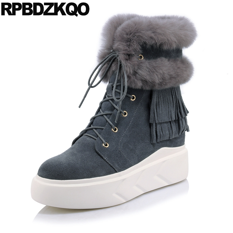 Shoes Lace Up Real Fur Winter Snow Boots Women Ankle High Quality Suede Gray Warm Fringe Flat Chinese Fashion Short Ladies
