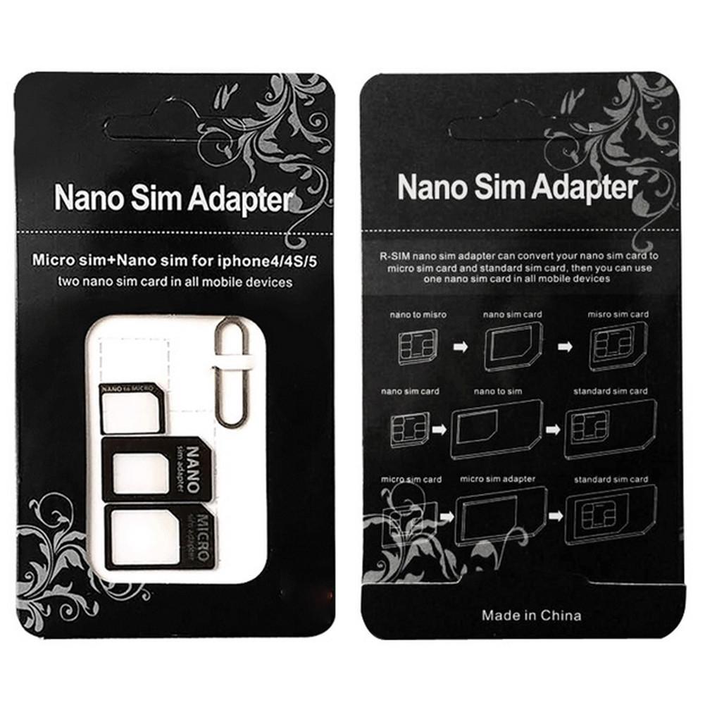 10 set sim card adapter 4 in 1 nano sim card to micro