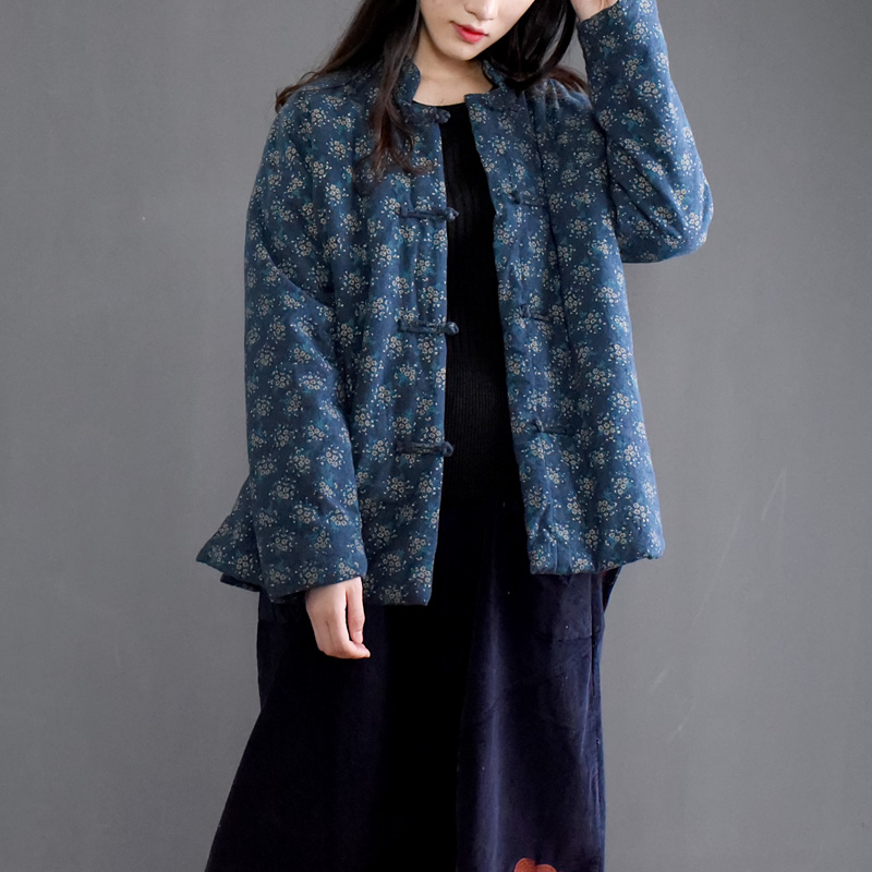 SCUWLINEN 2019 Vintage Handmade Small Wadded Jacket Plate Buttons Print Stand Collar Short Cotton padded jacket