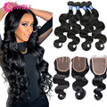 Peruvian Body Wave With Closure 8A Peruvian Virgin Hair With Lace Closure Vip Beauty Hair With Cheap Closure Wave New Star Style