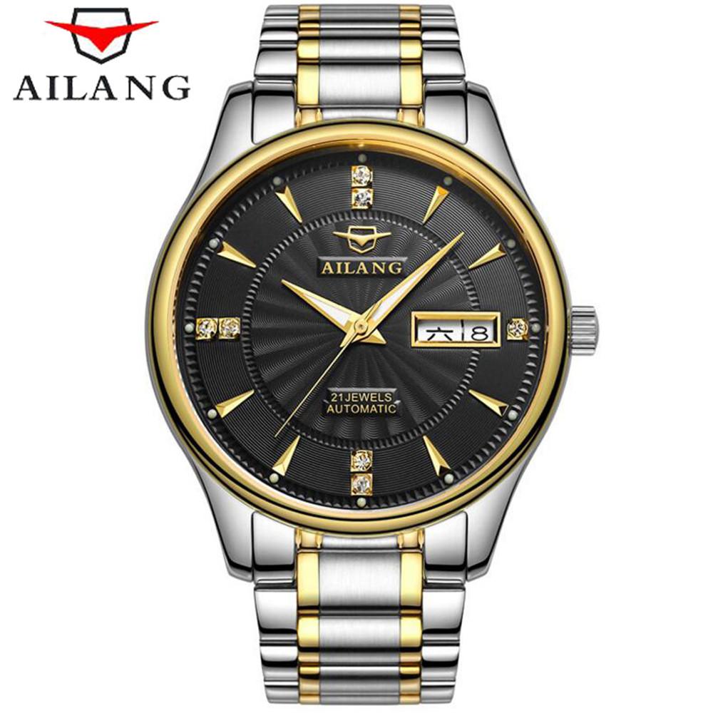 relogio masculino AILANG Mens Watches Top Brand Luxury Gold Stainless Steel Mechanical Watch Men Business Waterproof Wristwatch binger men s classic mechanical watches waterproof rose gold steel stainless brand luxury watch men automatic relogio masculino