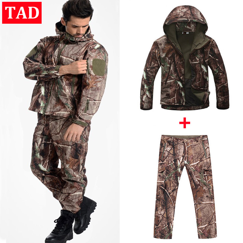 Sharkskin TAD Tactical Suit Men Army Hunting Sets Outdoor Sport Camping Hiking Clothes Camouflage Suit Military Jacket+Pants