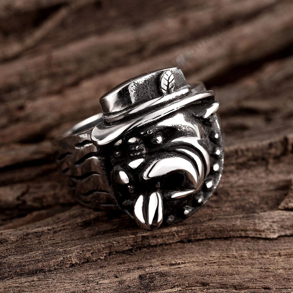 316l Stainless Steel Titanium Animal Pit Bull Dog Ring Men Personality  Unique Men's Jewelry Br8