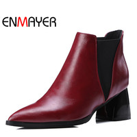 ENMAYER Autumn Winter Women's Boots Warm Shoes Slip on Shallow Pointed Toe High Heel Ankle Boots for Lady Large Size 34 47