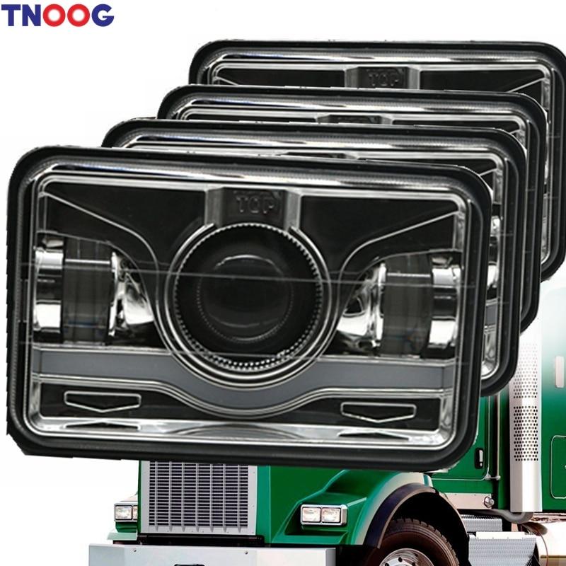 TNOOG 4pcs 4x6 Inch Square LED Headlights Sealed Beam H4651 H4652 H4656 H4666 H6545 - HID Replacement 6000K Rectangular Light