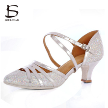 2017 New Style Adult Ladies Girl Ballroom Latin Dance Shoes High Heel Soft Sole Professional Indoor Tango Salsa Dance Shoes