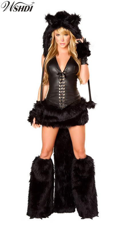 Sexy Black Cat Costume Halloween Furry Costumes For Women Animal