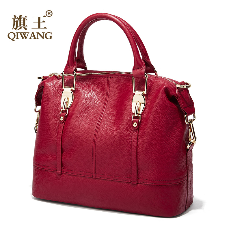 QIWANG Women's Bags Genuine Leather Roomy Bowling Hand bag Full Grain Cowhide Handbags Ladies Fashion Purses for Commuting&Party-in Top-Handle Bags from Luggage & Bags