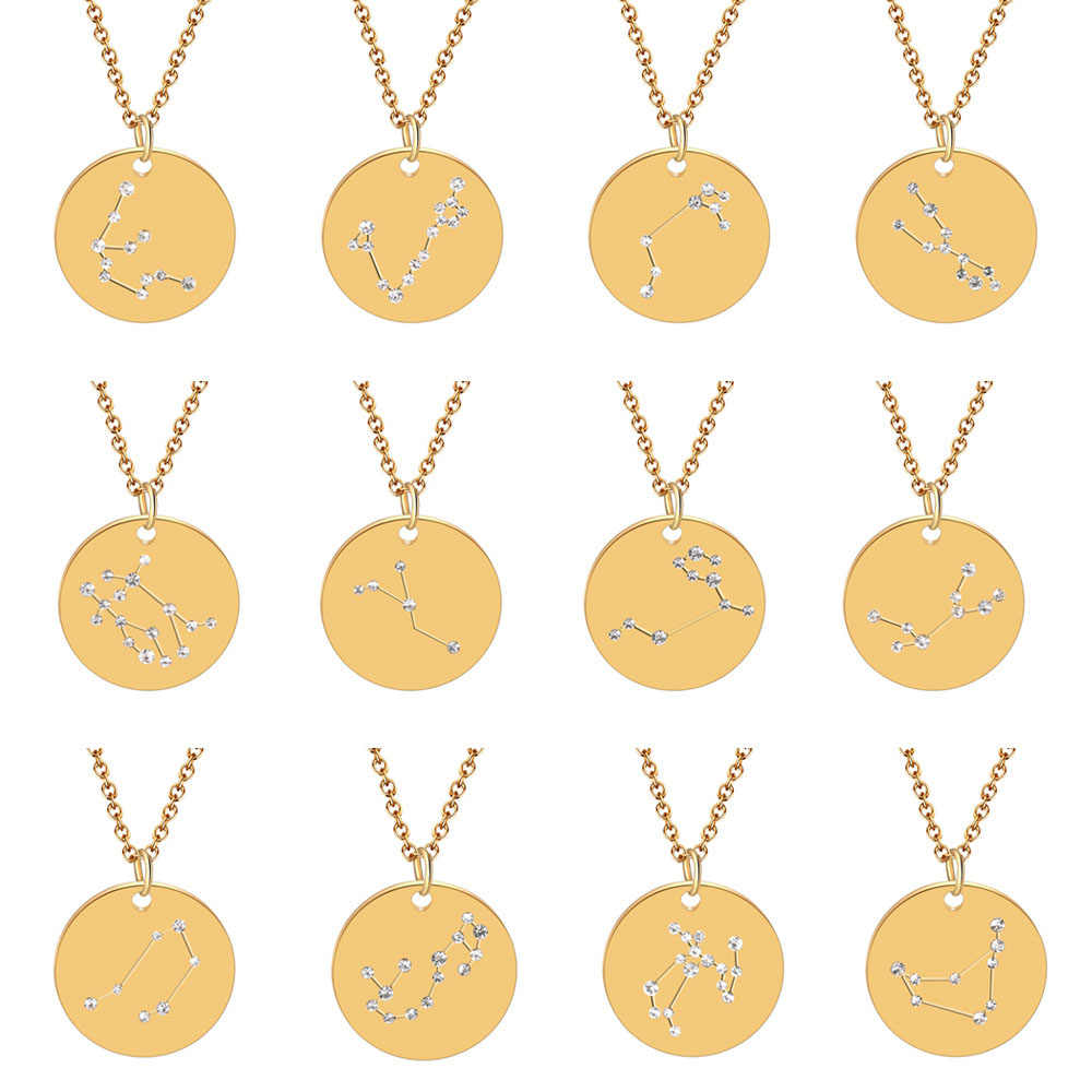 Women Exquisite Gold Disk Constellation Zirconia Necklace Crystal Celestial Zodiac Pendant Necklace Best Lover Gift Jewelry