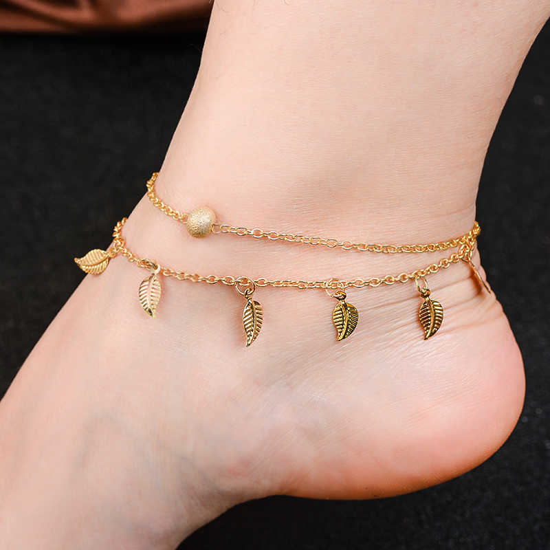 QCOOLJLY Multi Layer Star Pendant Anklet Foot Chain Summer Yoga Beach Leg Bracelet Charm Handmade Anklet Turkish Foot Jewelry