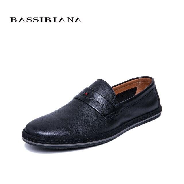 BASSIRIANA/Новинка 2019 г. мужская повседневная обувь из натуральной коровьей кожи с круглым носком хорошего качества, удобная обувь черного цвета, весна-осень, размер 39-45