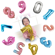 16inch 32inch Number Air Balloons Kids Birthday Party 0-9 Foil Balloon Numbers Adult Decoration Helium JL0006