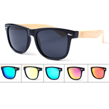 Free Shipping 6Colors Classical PC Frame with Bamboo Temple Sunglasse and Polarized Lens Spring hinges
