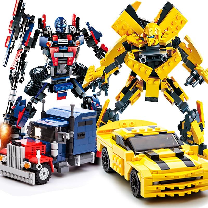 Трансформеры, Оптимус Прайм Bumblebee Модель персонажа строительные блоки игрушки Дети Трансформация Робот автомобиль обучающая игрушка подарок