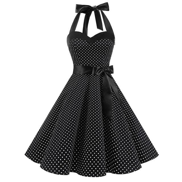 Dreamjieshi 2018 Women Vintage Rockabilly Dress Plus Size Spotted Dress Halter Summer Dresses Retro 50s Party Feminino Vestidos