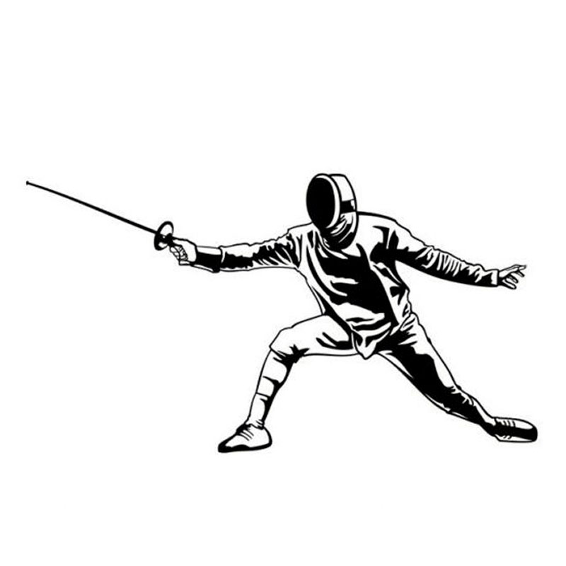 14.5cm*8cm Creative Fashion Fencing Personality Sports Car Stickers Vinyl Black Silver S2-0257