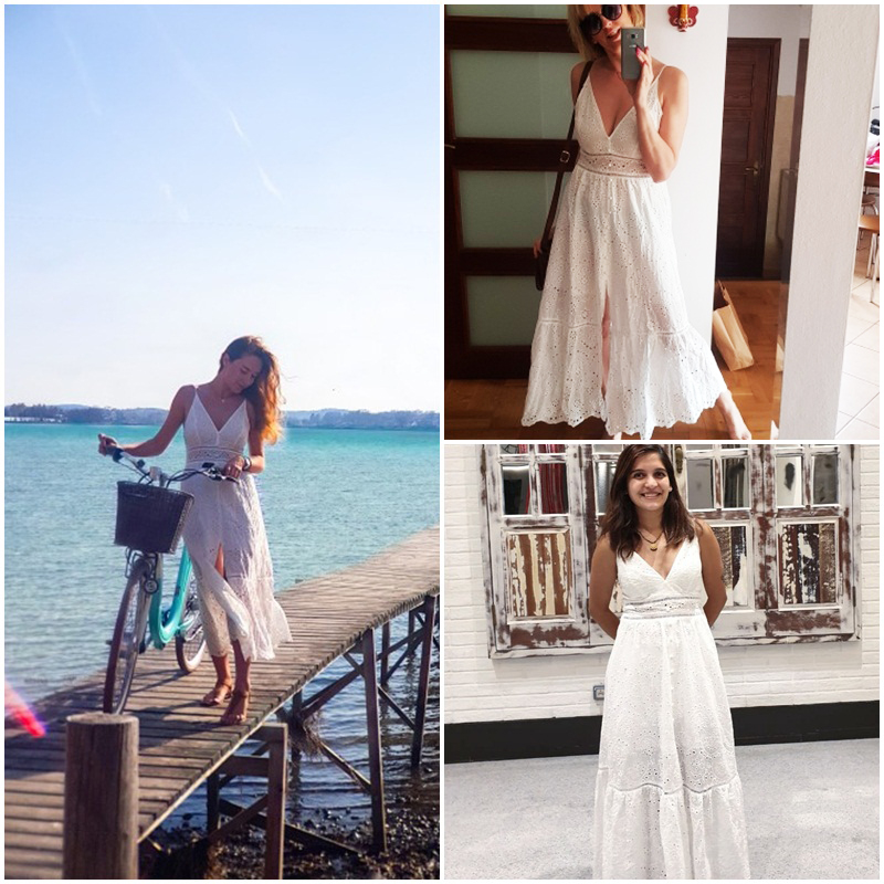 BerryGo White pearls sexy women summer dress 19 Hollow out embroidery maxi cotton dresses Evening party long ladies vestidos 7
