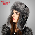 Women Winter Bomber Hats Caps Coffee Of Fur With Ears Protected For Lady Girl Christmas Gift KM-1373