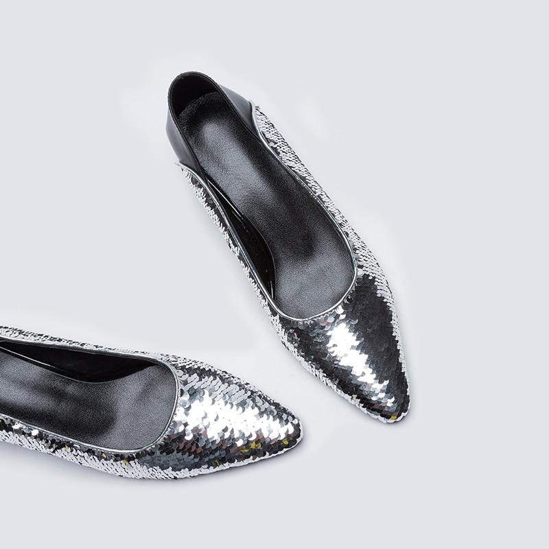 Echt 39 Leder Party Für Hochzeit 34 Pumpt Kcenid Mode Heels Luxus Bling Seltsam Elegante Silber Schuhe Frauen Größe TdUxwxnqF