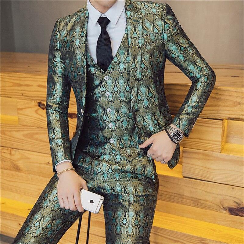 2019 New Brand Men Suits Wedding Slim Fit Blazers Suit Business Male Singer Tuxedos Groom Prom Party Suits Jacket+Pants+Vest