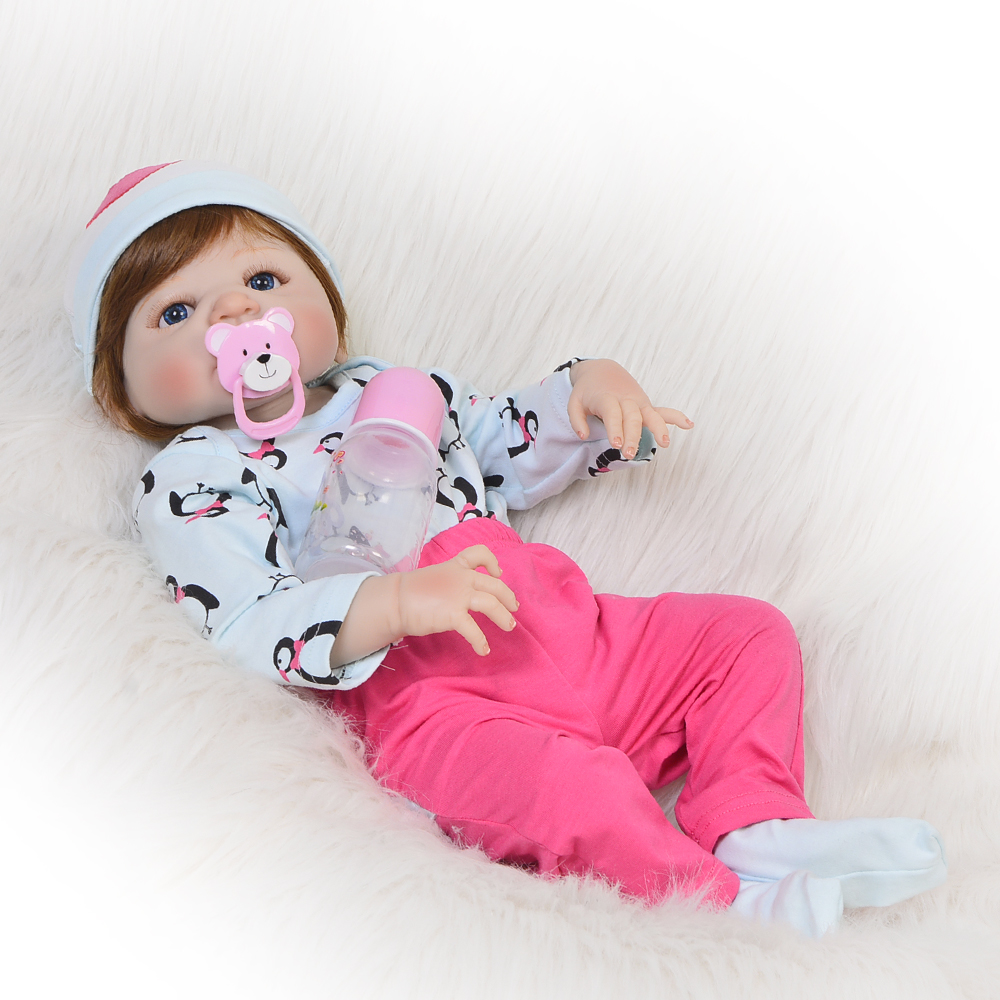 Lifelike 23 Inch Full Silicone Vinyl Doll Reborn Babies Boy Toy Realista 57 cm Fashion Reborn Boneca For Kids Birthday Gifts цена