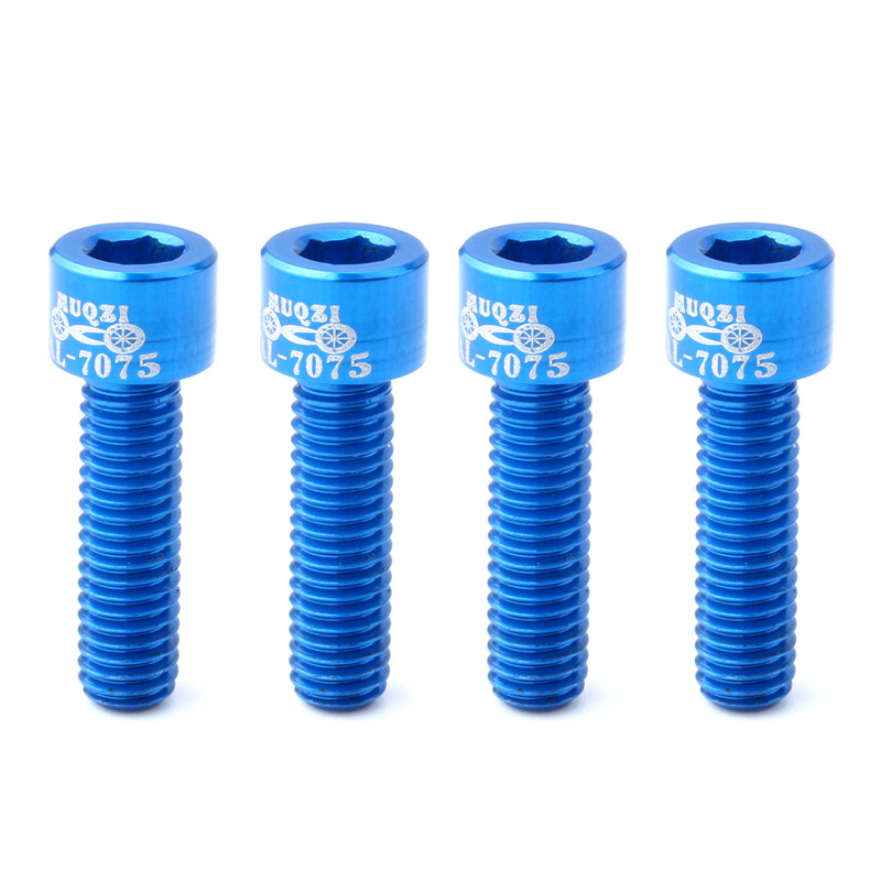 Muqzi 4Pcs Mtb Bolt Aluminum Alloy Cycling Fixed Gear Tool Bicycle Bottle Screw Repair Bike Cage Holder Blue