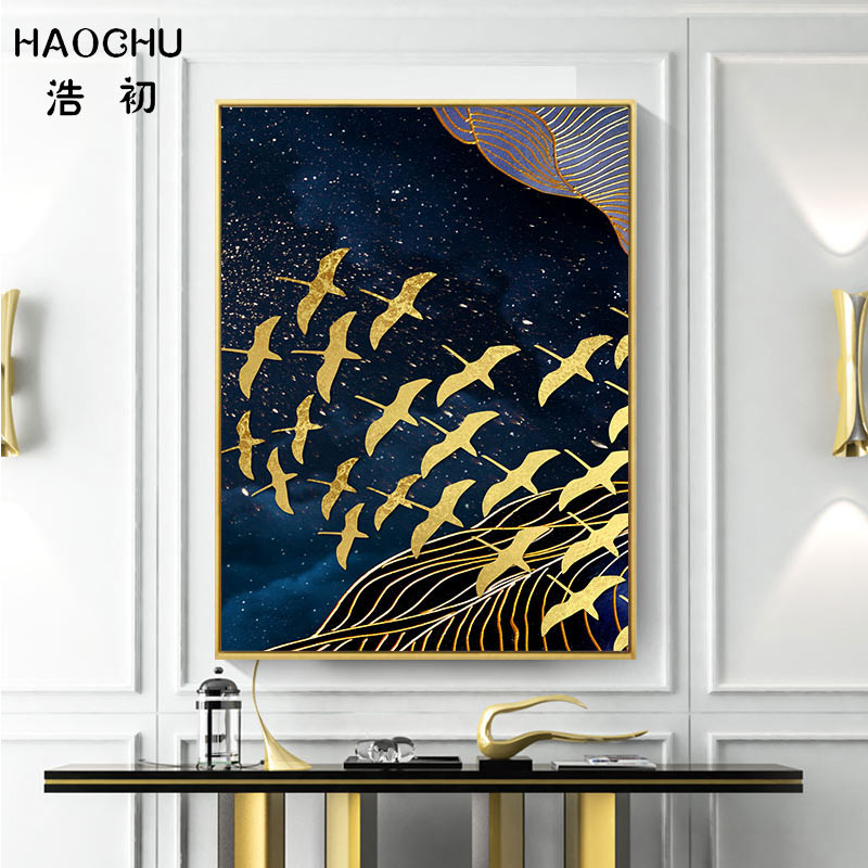 Image 3 - HAOCHU New Chinese Style Golden Moon Bird Abstract Auspicious Art Poster Print Picture Home Decor Wall Sticker Canvas Painting-in Painting & Calligraphy from Home & Garden